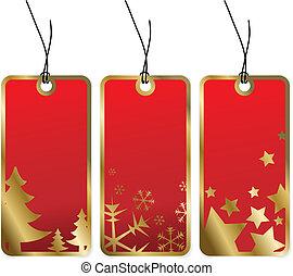 אדום, חג המולד, פתקים, עם, זהוב, גבולות