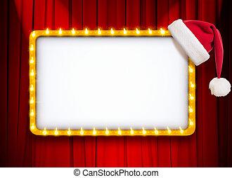 אדום, חתום, תאטרון, או, הסגר, וילון, אור, קולנוע, כובע, חג המולד, זהב