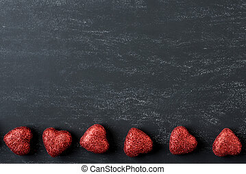 אדום, לבבות, ב, a, לוח לגיר, ל, יום של ולנטיינים