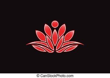 אדום, פרח של לוטוס, logo., וקטור, איקון