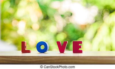 אהוב, אלפבית, *t*, ב, שולחן מעץ, מעל, אור, bokeh, רקע, ולנטיין, מושג