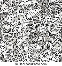 אהוב, תבנית, seamless, sketchy, וקטור, doodles