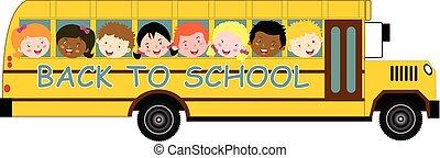 אוטובוס, בית ספר, השקע, ילדים