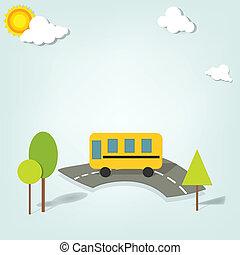 אוטובוס, בית ספר, וקטור