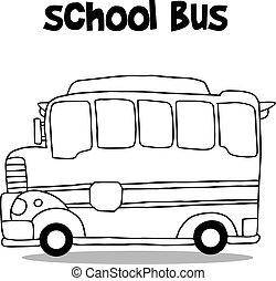 אוטובוס, בית ספר, וקטור, תחבורה, אוסף