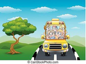 אוטובוס, בית ספר, שמח, ילדים, רכוב