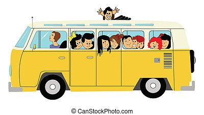 אוטובוס, ילדים, בית ספר
