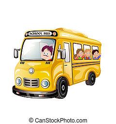 אוטובוס, ילדים של בית הספר, שמח