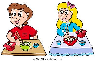 אוכל, בחור, ילדה, לאכול, סיני