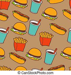 אוכל מהיר, seamless, תבנית, ב, ראטרו, style.
