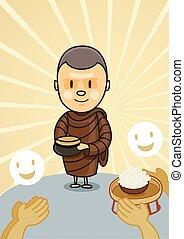 אוכל, קערה, נזיר