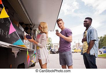 אוכל, תור, לקוחות, משאית, שמח