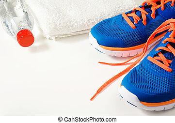 אולם התעמלות, כושר גופני, נעליים של ספורט, אביזרים