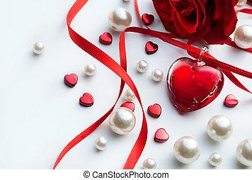 אומנות, ולנטיינים, כרטיס של דש, עם, ורדים אדומים, עלהי כותרת, ו, תכשיטים, לב, בלבן, רקע