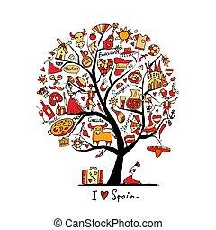 אומנות, עץ, סמלים, עצב, שלך, ספרד