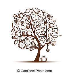אומנות, עץ, עם, כליים של מטבח, רשום, ציור, ל, שלך, עצב