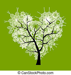 אומנות, עץ, צורה של לב, ל, שלך, עצב