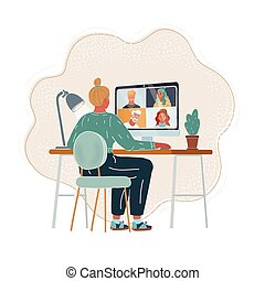 אונליין, וידאו, להשתמש, פגישה, עסק, שחח, התחבר, conference., להתקשר