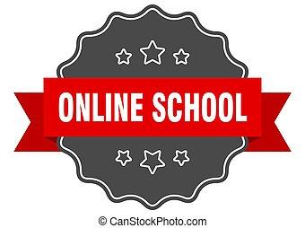 אונליין, seal., חתום, בית ספר, הפרד, label., sticker.