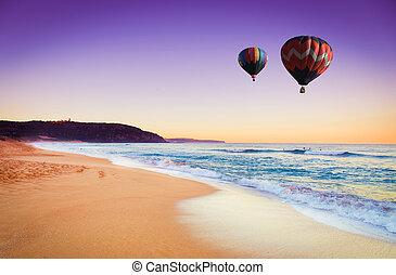 אוסטרליה, קיץ, מעל, הבלט, חם, דרום, חדש, החף, balloon, וואלאס