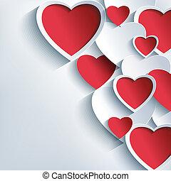 אופנתי, יום של ולנטיינים, רקע, עם, 3d, אדום, ו, אפור, לבבות