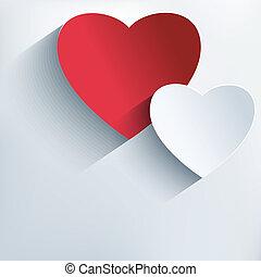 אופנתי, יצירתי, רקע, עם, 3d, אדום, ו, אפור, לבבות