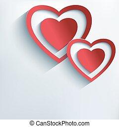 אופנתי, רקע, עם, אדום, נייר, 3d, לבבות