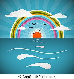 אוקינוס, תקציר, ראטרו, וקטור, דוגמה, עם, שמש, צפרים, קשת
