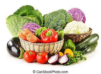 אורגני, מיגוון, ירקות, הפרד, טרי, לבן