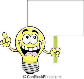אור, חתום., ציור היתולי, להחזיק, נורת חשמל