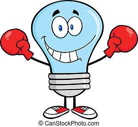 אור כחול, לחייך, מתאגרף, נורת חשמל