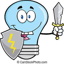 אור כחול, guarder, נורת חשמל