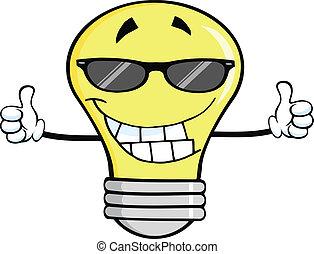 אור, לחייך, משקפי שמש, נורת חשמל