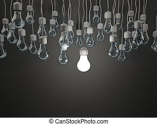 אור, מואר, רקע שחור, נורת חשמל