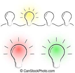 אור, צבע, נורת חשמל