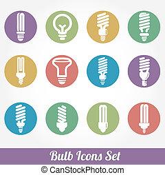 אור, קבע, bulbs., נורת חשמל, איקון