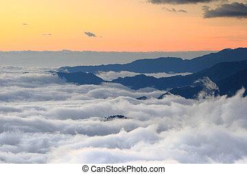 אור שמש, ו, יפה, ענן, של, ים