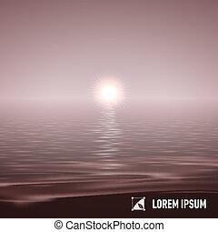 אור שמש, מעל, מים רגועים, דמות של טון