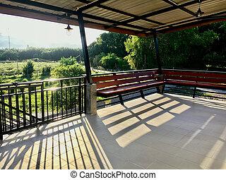 אור, balcony., overplaying, צל, מבט על, סאנריסינג