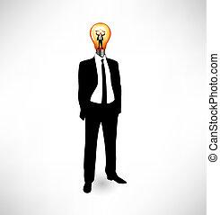 אור, bulb., ה, מושג, של, idea.