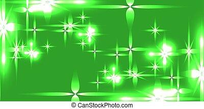 אור, stars., וקטור, רקע ירוק, מאיר
