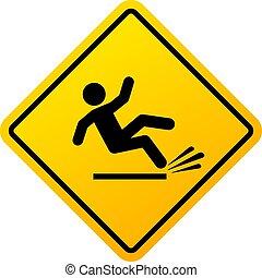 אזהרה, וקטור, חתום, מחליק, רצפה