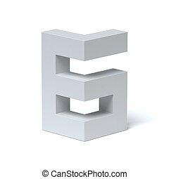 איזומטרי, מספר 6, פונט, renderin, 3d