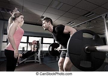 אימון, אולם התעמלות, משקולת, הרמת מישקלות, דאמבאל, קשר