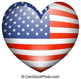 איקון, עצב, ל, דגלל, של, אמריקה, ב, צורה של לב