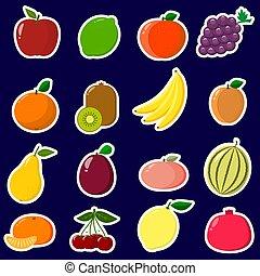 איקונים, מדבקות, של, פרי, עם, a, לבן, תאר, ב, a, קבע, ב, a, חושך, רקע.