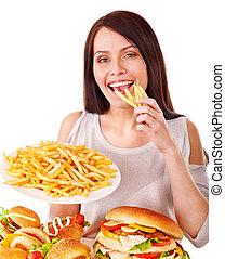 אישה אוכלת, מהיר, אוכל.