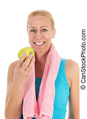 אישה אוכלת, תפוח עץ, portrat, בוגר, כושר גופני