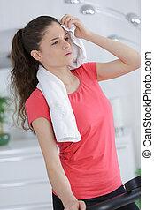 אישה בריאה, מגבת, להחזיק, התאם