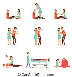 אישה, חירום, ראשי, אוסף, לעקוב, infographic, טיפול, דוגמות, עזור, פרוצדורות, פירס, משני